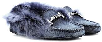 Tod's Gommino fur-lined denim loafers