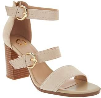 C. Wonder Block Heel Suede Sandals with Buckles - Maya