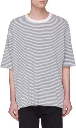 Bassike Raw edge stripe waffle knit T-shirt