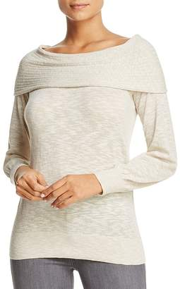 Heather B Foldover Boat Neck Sweater - 100% Exclusive