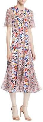 Prabal Gurung Flutter-Sleeve Floral-Print A-Line Midi Silk Dress w/ Chiffon Panels