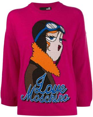Love Moschino aviator intarsia-knit jumper
