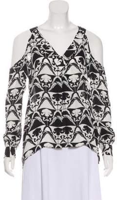 Nicole Miller Silk Long Sleeve Top Black Silk Long Sleeve Top