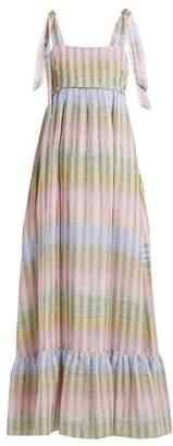 Athena Procopiou - Cosmic Dancer Multi Thread Cotton Blend Maxi Dress - Womens - Blue Multi