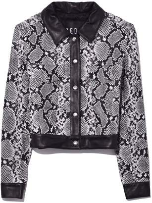 Veda Wynona Leather Jacket in Snake with Black