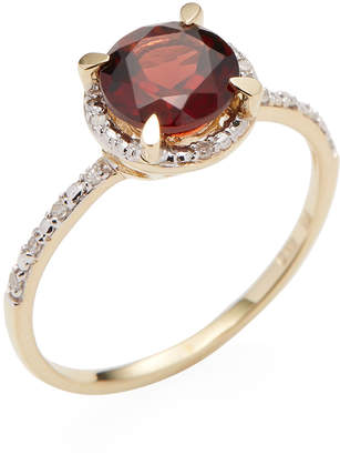 Rina Limor Fine Jewelry Women's 10K Yellow Gold Garnet & Diamond Halo Ring