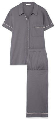 Skin - Harlow And Halle Pima Cotton And Modal-blend Jersey Pajama Set - Dark gray