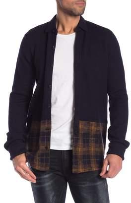 Scotch & Soda Solid & Plaid Wool Knit Regular Fit Shirt
