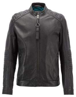 BOSS Hugo Slim-fit biker jacket in part-quilted leather 38R Black
