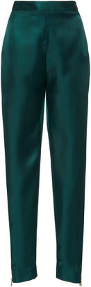 Brandon Maxwell Side Zip High-Rise Silk Cigarette Pant