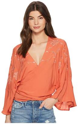 Lucky Brand Embroidered Wrap Top Women's Long Sleeve Pullover