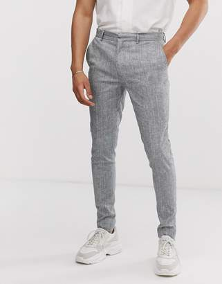 Asos Design DESIGN super skinny smart pants in gray linen