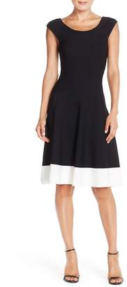 Eliza J Colorblock Fit & Flare Sweater Dress (Regular & Petite)