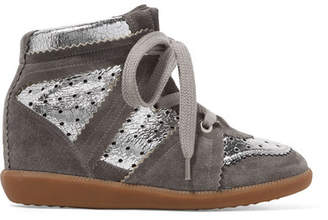 Isabel Marant Bobby Perforated Metallic Leather And Suede Wedge Sneakers - Silver