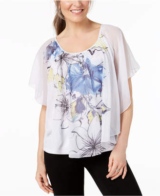 JM Collection Printed Poncho Blouse, Created for Macy's