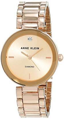 Anne Klein Women Liberty Quartz Watch with Gold Dial Analogue Display and Rose Gold Stainless Steel Bracelet AK/N1362RGRG