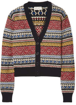 Cropped Striped Cotton-blend Cardigan - Red