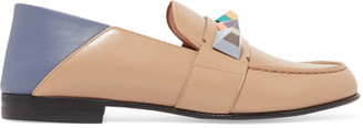 Fendi - Rainbow Embellished Collapsible-heel Leather Loafers - Beige $900 thestylecure.com