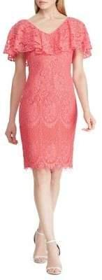 Lauren Ralph Lauren Ruffled Overlay Lace Cocktail Dress