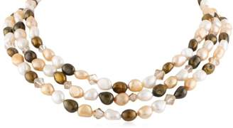Swarovski 3 Row Gold Over Silver Dyed Tone Baroque Freshwater Cultured Pearl with Element Bicones Necklace