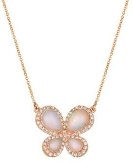 LeVian Le Vian Neopolitan Opal, Vanilla Diamond 14k Strawberry Gold Butterfly Necklace