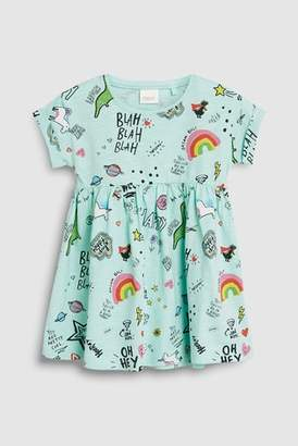 Next Girls Aqua Short Sleeve Dinosaur Slogan Dress (3mths-7yrs)