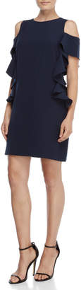 Vince Camuto Navy Cold Shoulder Ruffle Shift Dress