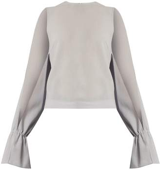 Osman Petra round-neck long-sleeved wool-crepe top