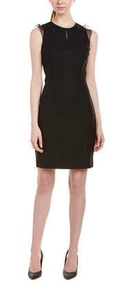 Elie Tahari Silk-Trim Wool-Blend Sheath Dress