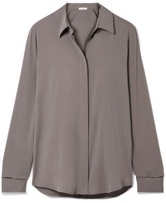 The Row Petah Silk-blend Crepe De Chine Shirt - Gray