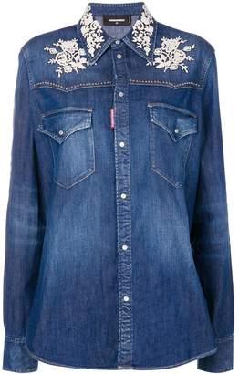 DSQUARED2 lace appliqué denim shirt