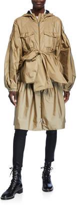 Moncler Genius Ellen Oversized Bow Raincoat w/ Hood