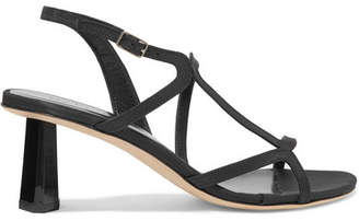 BY FAR Brigette Satin Slingback Sandals - Black