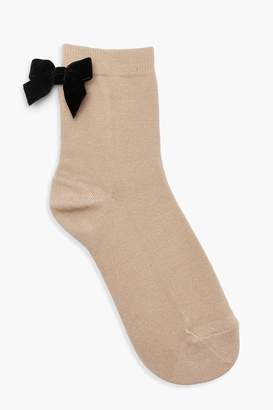 boohoo Ankle Socks With Velvet Bow