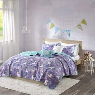 Home Essence Kids Laila Unicorn Printed Cotton Coverlet Bedding Set