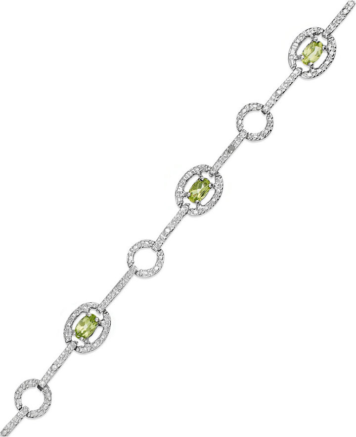 Townsend Victoria Sterling Silver Bracelet, Peridot (1-5/8 ct. t.w.) and Diamond Accent Bracelet