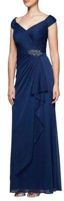 Alex Evenings Ruffled Off-The-Shoulder Gown