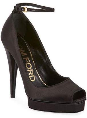 Tom Ford Peep-Toe Platform Ankle-Wrap Pumps, Black