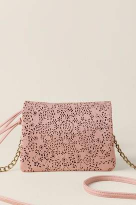 francesca's Jessica Floral Perforated Crossbody - Ivory