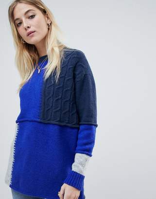 Noisy May patchwork cable mix sweater