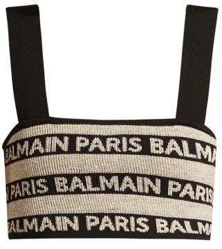 Balmain Logo Intarsia Stretch Knit Crop Top - Womens - Beige Multi