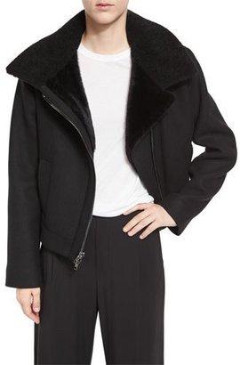 Vince Shearling Fur-Lined Moto Jacket, Black $750 thestylecure.com