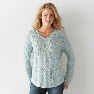 Women's SONOMA Goods for LifeTM Cable Knit V-Neck Sweater $44 thestylecure.com