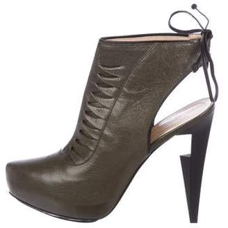Aperlaï Leather Platform Cut-Out Ankle Boots