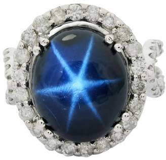 14K White Gold with 15.13ct. Blue Star Sapphire and 1.98ct. Diamond Ring Size 7.0