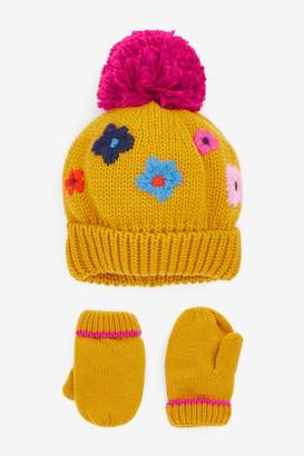 Next Girls Ochre Embrodiered 2 Piece Hat And Glove Set (Younger) - Yellow