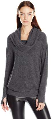 Michael Stars Women's Madison Brushed Jersey Convertible-Cowl Tope with Thumbholes