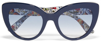 Dolce & Gabbana - Escape Cat-eye Acetate Sunglasses - Navy $270 thestylecure.com