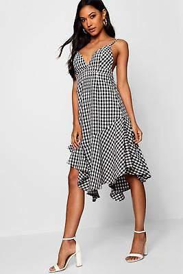 boohoo NEW Womens Tami Asymmetric Hem Checked 90's Neck Dress in Polyester