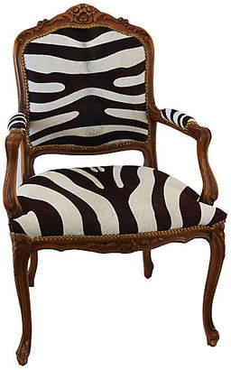 One Kings Lane Vintage Carved Wood & Zebra Cowhide Armchair